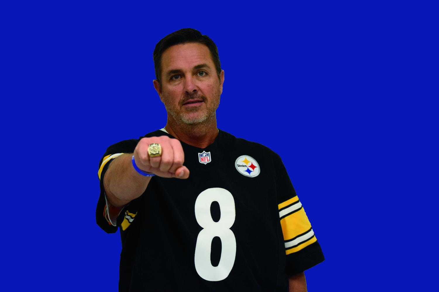 Pictured: Tommy Maddox wearing his Super Bowl ring and Steelers team jersey  Photo by: Faith Myers