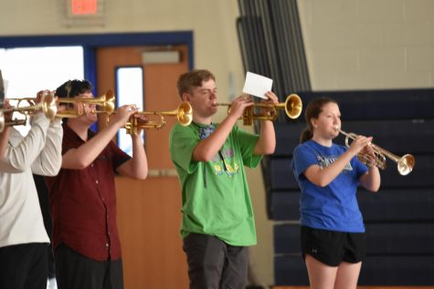 Band members practice with their sections during their first Monday night rehearsal of the school year on August 17. Photo by: Lindsay Gogniat