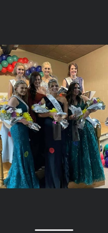 Each of the newly crowned Youth Fair Queens with their runners up pose with former Miss USA after the ceremony.
