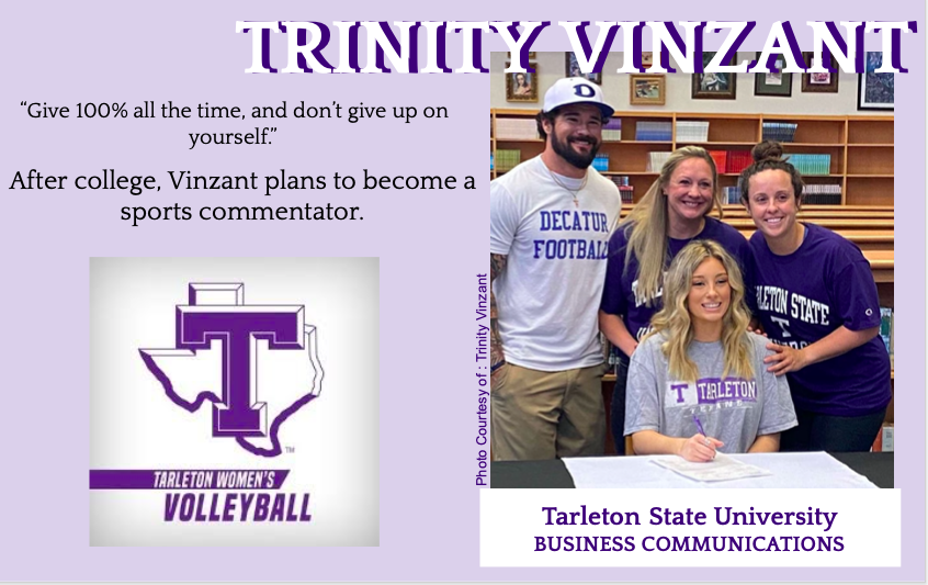 Trinity Vinzant signs with Tarleton for Volleyball