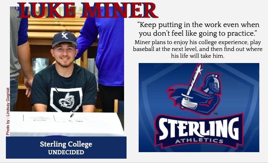 Luke Miner Signs With Sterling for Baseball